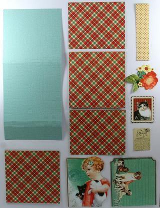 Corte de papel de tarjetas a 6 3/4 x 3 pulgadas. Marque por 2 1/2, 2 3/4, 5 3/4 y 6 pulgadas. Cortar con dibujos Periódicos ... 2 al (2 7/8 x 2 7/8), 2 al (2 7/8 x 2 3/8) 1 al (2 7/8 x 5/8 pulgadas. También una variedad de cortes quisquillosos.