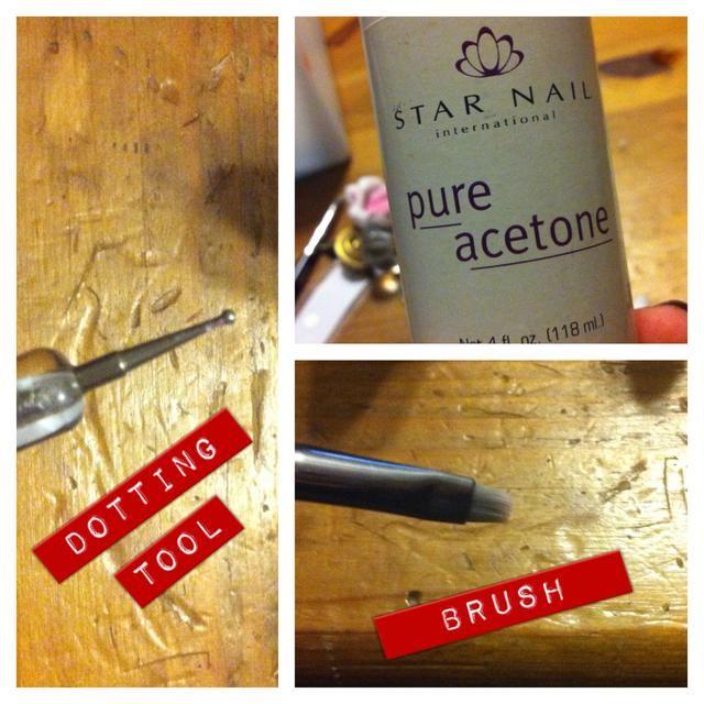 Cepillo y acetona para la limpieza de sus formas, y la herramienta que salpican para, así, puntos.