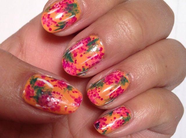 Cómo crear Nail floral anaranjado arte