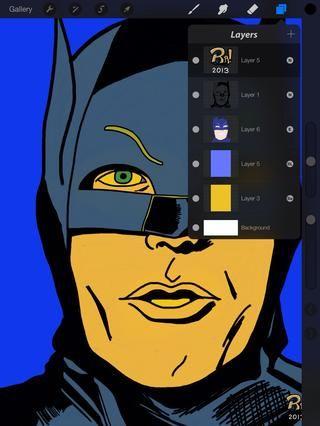 Por este Batman me pellizqué el proceso arrastrando las capas de color todo el camino hasta el fondo y cambiar la configuración de mezcla (véase más arriba) en Batman. Diferentes modos le dará otros resultados.