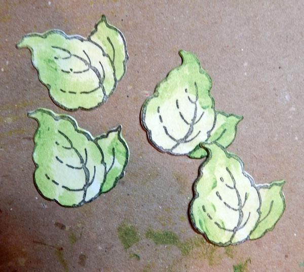 Sello y morir hojas cortadas. Pintar con limeaid Velvet y destacar con Evergreen sorbete.