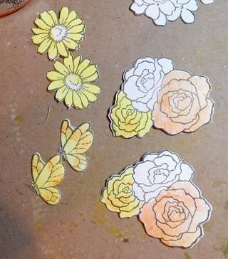 Sello y morir flores y mariposas. Pintar las rosas con la tarta del limón, Tigre's Eye, Just Peachy, Cotton Candy and Persimmon. Paint butterflies and daisies with Lemon Tart and Tiger's Eye.