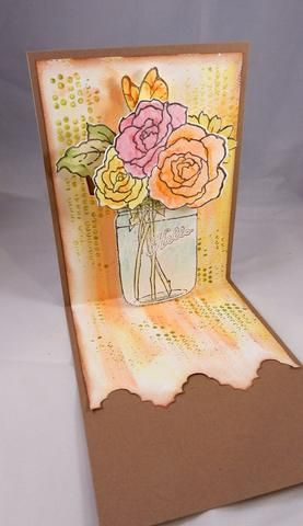 Pintura jarrón con Pixie Sorbete para simular agua. Después de pintar todos los artículos, se adhieren a las pestañas anotados crean en el paso anterior.