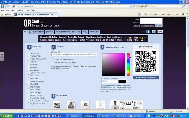 Abra un generador de código QR y pegar la dirección URL en el cuadro de texto URL del sitio web. (Me gusta qrstuff.com)