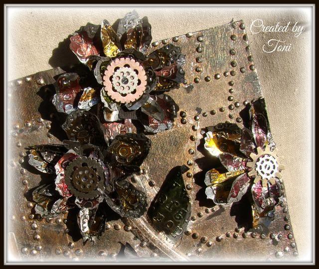 Estas flores son divertidos de hacer, y el uso de la cinta de hoja de metal isso versátil, tratan de pensar en otras cosas que usted puede utilizar para.