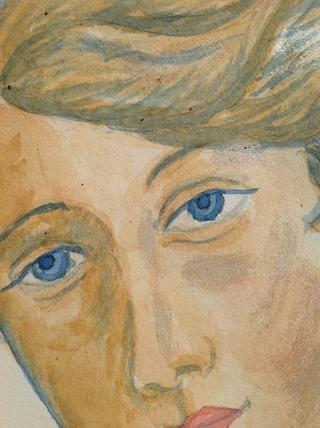 Aquí está un primer plano para mostrar las capas suaves de azul coloqué en su cara para las sombras.