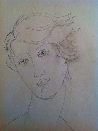 Con un lápiz, y una goma de borrar (porque me equivoco), presenté la cara. Alteré la imagen. Yo le daba el pelo corto, pero me aseguré de que el flujo del pelo era evidente.