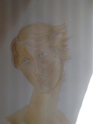 Utilizando el mismo lavado, lugar en la primera capa seca, pintar donde hay sombras en la cara y el pelo. Deje secar.