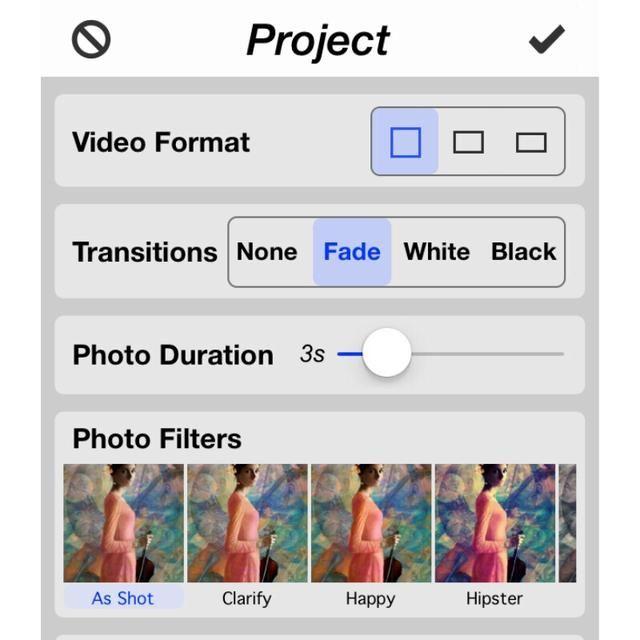 El icono de configuración le permite configurar la relación de aspecto, títulos, transiciones, filtros y el número de segundos por diapositiva.