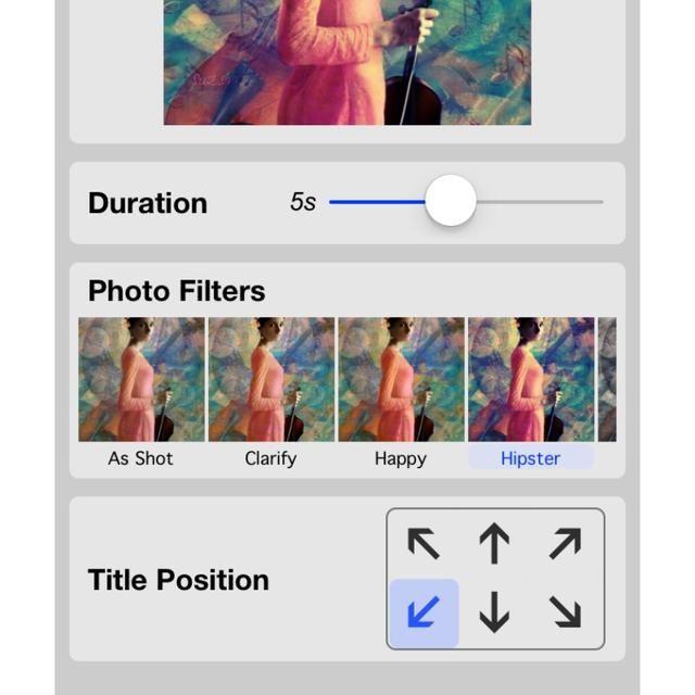 El menú de configuración también le permite controlar la colocación del título, que es opcional para cada imagen.