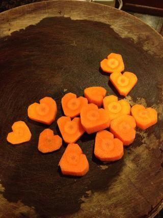 Aquí están mis zanahorias en forma de corazón!