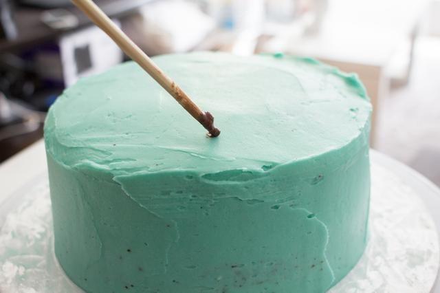 He utilizado un palillo y la inmersión en el extracto de cacao en polvo / vainilla y DAB al azar alrededor de su pastel. Hacer las motas diferentes tamaños.
