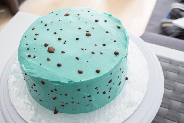 Continúe hasta que todo el pastel se ha decorado.