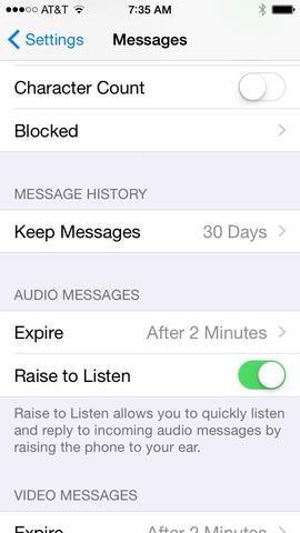 En los mensajes, desplácese hacia abajo hasta encontrar Mantenga Mensajes y seleccionarlo.