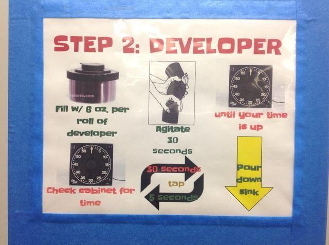 medir y verter desarrollador 6 oz Reemplace la tapa, establecer un temporizador para el tiempo. Agite primero 30 segundos, el tanque establecido durante 30 segundos, agite durante 5 segundos cada 30 segundos hasta que el tiempo's up. Pour developer down drain.
