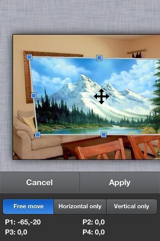 Arrastre las esquinas para alinearse con las esquinas del marco de la imagen en la pared.