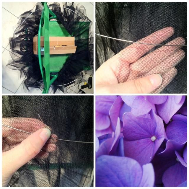 Coloque el círculo de alambre en la parte superior de su tutú y coser sobre las tiras cortas. Asegúrese de no coser a través de los más largos!