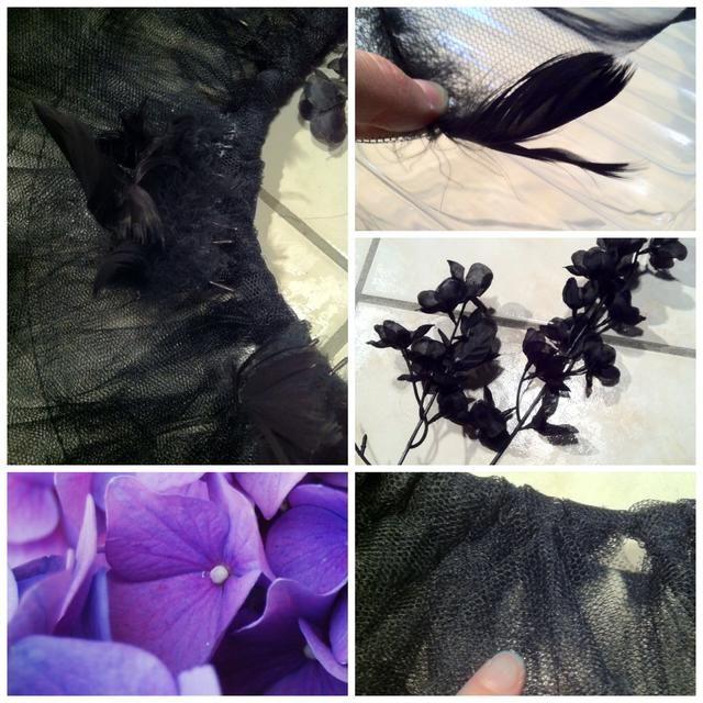 He decorado el tutú con algunos más plumas y flores. Si lo hace, asegúrese de pegar sólo en las bandas, no la banda elástica!