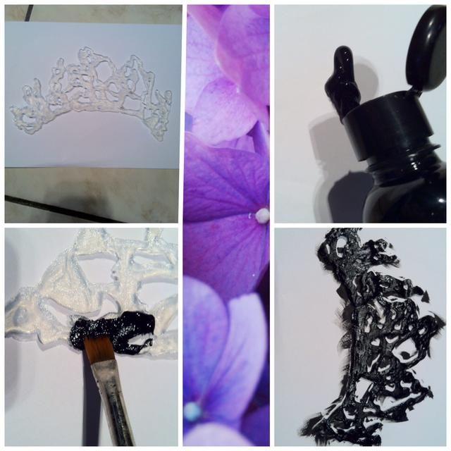 Coloque el pegamento-corona en una hoja de papel y la pintura de un lado negro