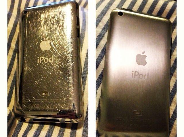 ¿Cómo hacer un efecto de metal cepillado en el iPod o iPhone