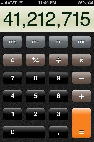 Después de todos los números que nombre se introducen y se multiplica juntos. Al llegar a los iguales al final se'll automatically show the number you entered before hand.