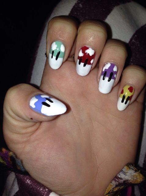 Cómo hacer Mario Mushroom Inspirado arte de uñas: D