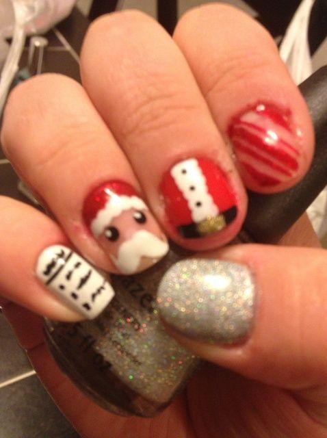 ¿Cómo hacer de Santa y de la Miscelánea. Uñas de Navidad