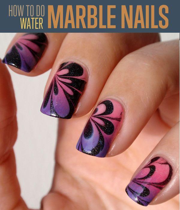 Fotografía - Cómo hacer Mármol Agua Nail Art