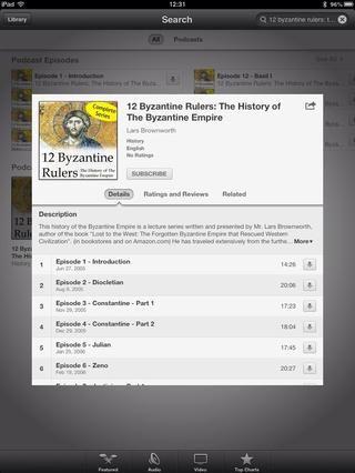 Usted puede comprobar la descripción de los podcasts y cuántos episodios qué tiene. Por ahora, pulse el botón Suscribir justo al lado de la imagen de la portada de podcast