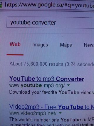 Ahora escriba en un motor de búsqueda: YouTube Converter, y haga clic en la primera.