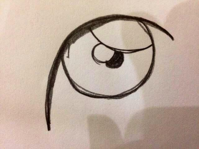 Ahora dibuje otro pequeño círculo en el centro del globo ocular. Colour es negro - esta será la pupila.
