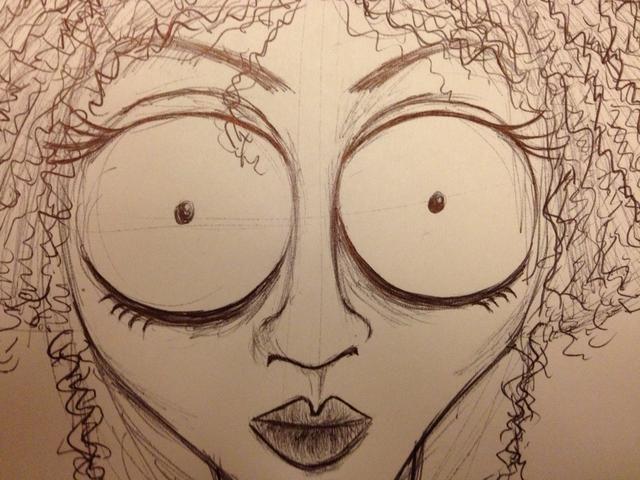 Oscurecer los ojos y redefinir la cara. Añadir un poco de sombra y que're done!��