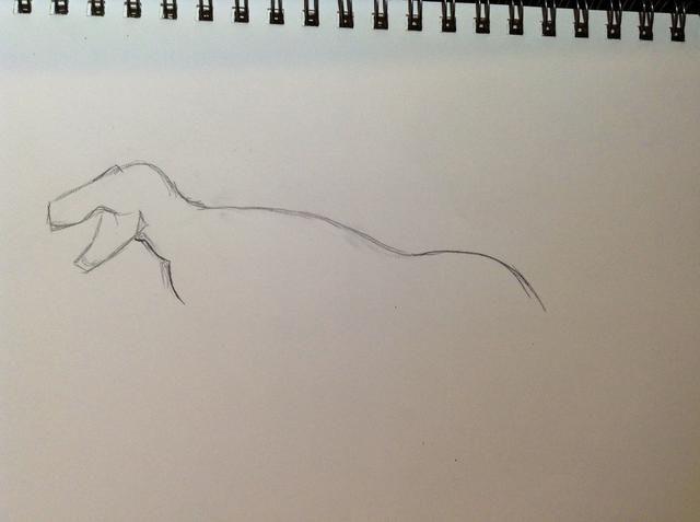 Ahora dibuja la curva de la espalda y la cola. También agregue parte del tórax.
