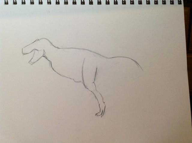 Terminar de dibujar la primera pierna de atrás.