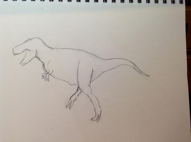 Dibuja los brazos delanteros y alargar la cola un poco.