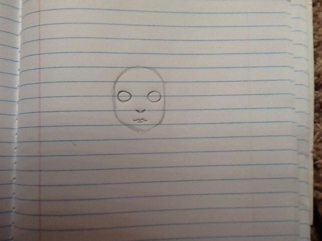 Dibuja la nariz y los labios, pensar en la nariz como av y los labios como una m con una curva en Neath ella.