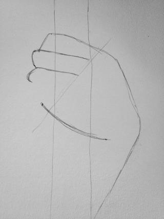 Dibuje una línea de luz que une los extremos de los dedos en un ángulo de aproximadamente 45 grados.
