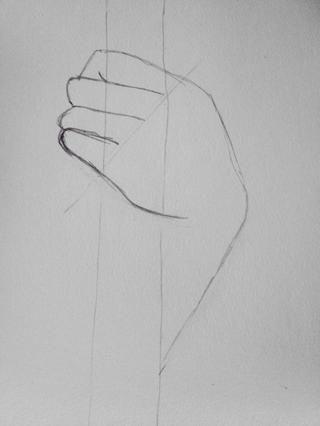 Dibuja una pequeña curva hacia arriba para hacer la curva dedo.
