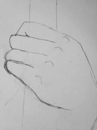 Dibuje en nudillos dibujando puntiagudos semicírculos.