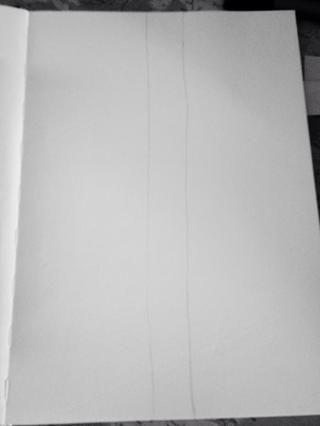 Dibuja dos líneas por el centro de la página de arriba a abajo, alrededor de una pulgada de distancia. El personal estará más rústico si las líneas aren't perfectly straight, but do them how you want.