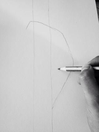 Bajando un poco de la articulación de la muñeca, y al otro lado del borde derecho de la plantilla, marque un punto pequeño.