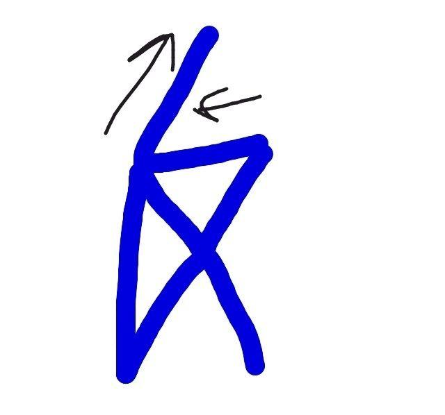 Ir a la izquierda y luego en diagonal a la derecha como se muestra.