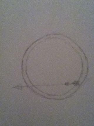 Dibujar el interior del círculo y la flecha.