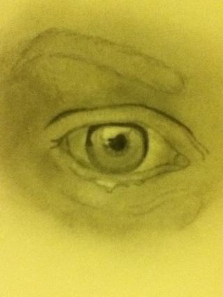 Dibuje rayos procedentes de la pupila y la sombra una pequeña parte de la parte inferior del ojo ...