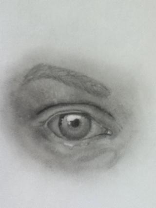 Luego trabajé en las sombras de la parte inferior de la piel ... Entonces he esbozado en las cejas ligeramente.
