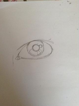 Ponga un párpado sobre el ojo. Todos los ojos tienen diferentes párpados en forma, por lo que deciden cómo quiere que se vea. Dibuja un círculo en el interior del conducto lagrimal y poner un punto de luz.