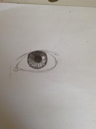 Agregue un poco de sombras alrededor de los bordes del iris. La mayoría de los ojos tienen esta. Shade o se mezclan con una herramienta de mezcla.