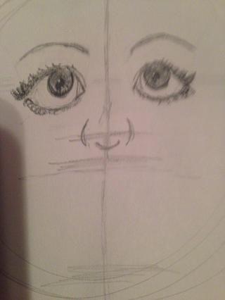 Dibujar línea curva para la parte inferior de la nariz
