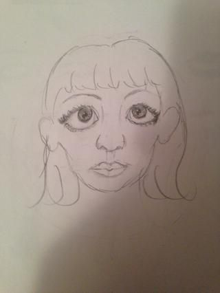 si tu're doing bangs, add lines as pictured above bangs. Also, finish the hairline.