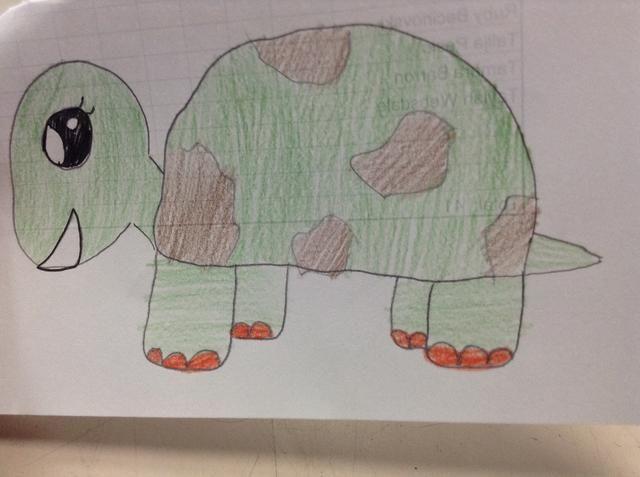 Colorear en con su lápiz verde y marrón y disfrutar de su tortuga.